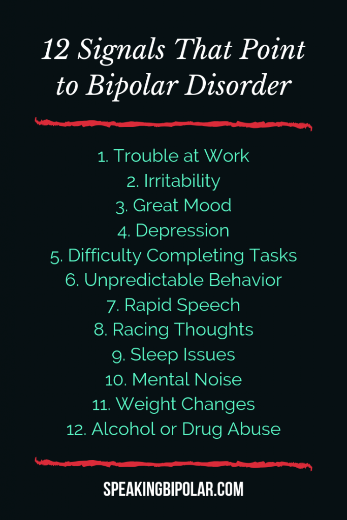 Bipolar Disorder can be very disruptive, but it is also very treatable. This post looks at 12 common signs of bipolar. | #Bipolar #MentalHealth #MentalHealthAwareness #BPD #SpeakingBipolar