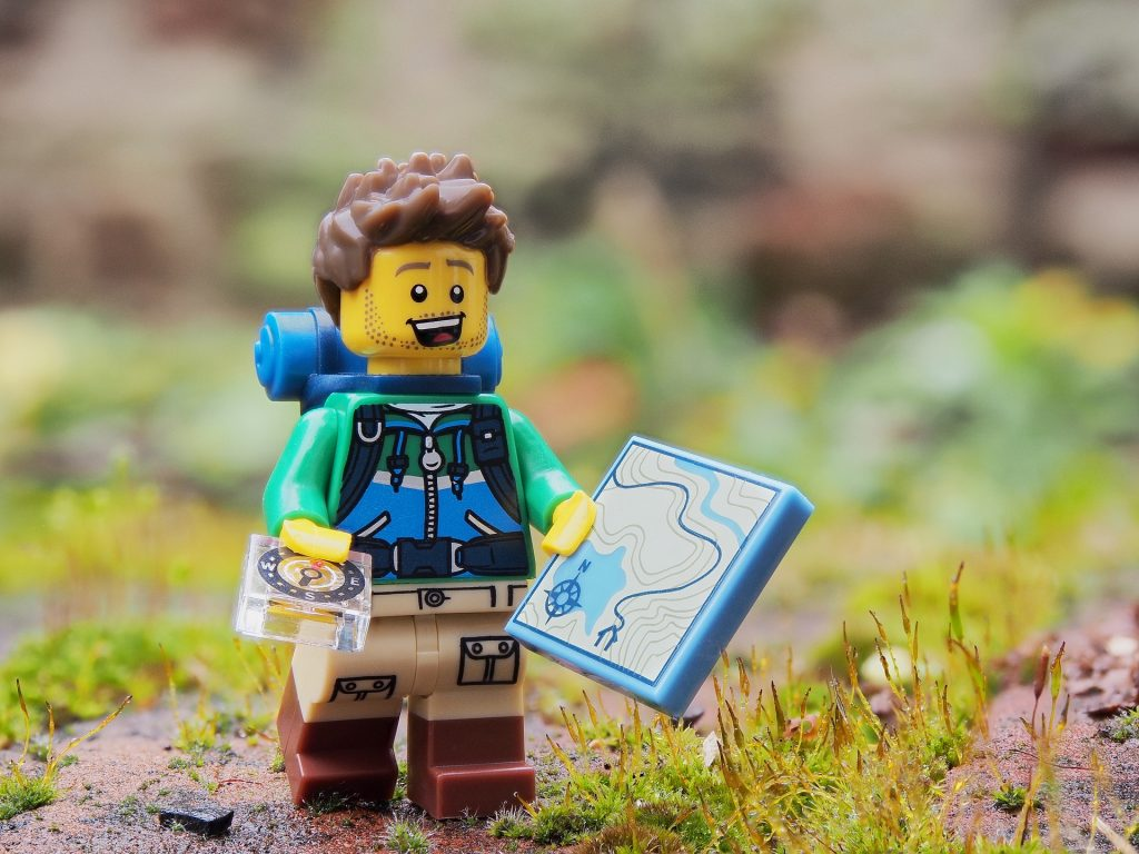 Lego hiker with map