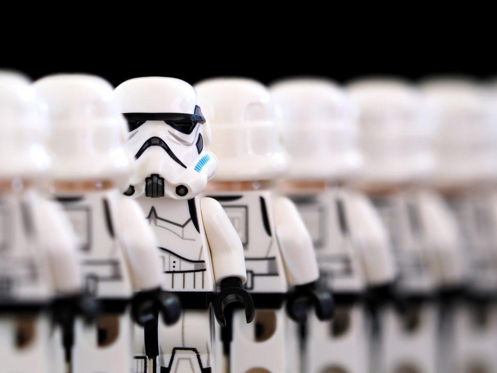 Storm Troopers in battle line.