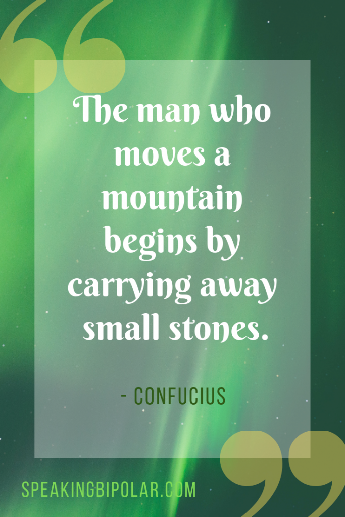 """The man who moves a mountain begins by carrying away small stones."" by Confucius 