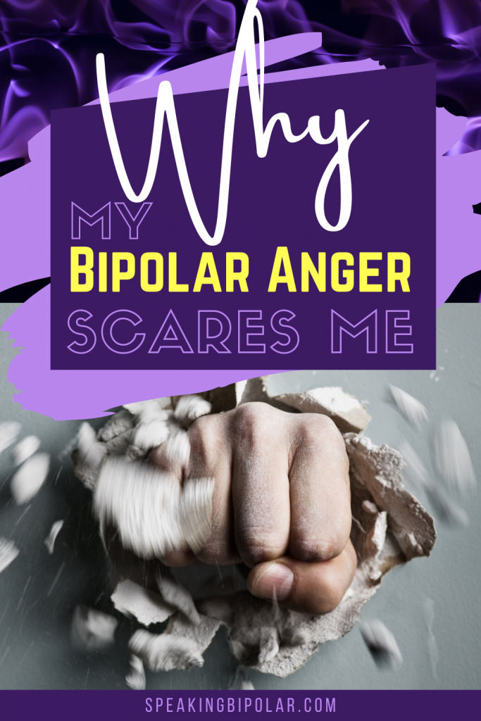 Fist punching through wall - Coping with bipolar anger is one of the most challenging parts of having the disorder. This post examines why it still scares me and how I fight it. | #bipolar #bpd #anger #mentalillness #mentalillnessawareness #bipolarstrong