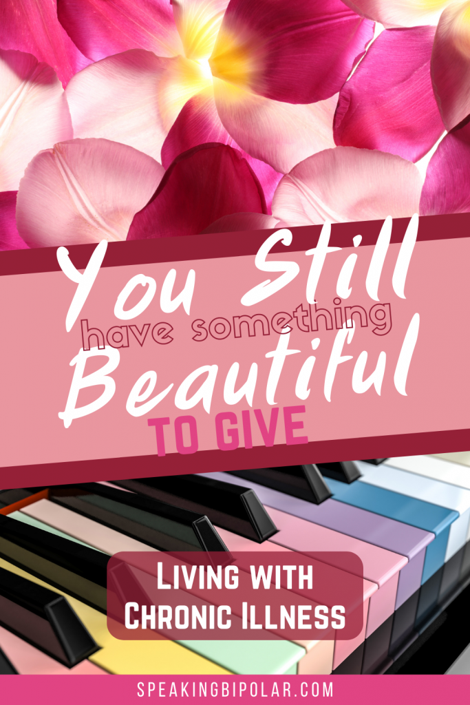 Flower petals and colored piano keys. Your broken parts don't define you even if living with mental illness makes it feel that way. Learn a lesson from a beautiful song about Marilyn Monroe. | #bipolar #feelbroken #mentalillness #chronicillness