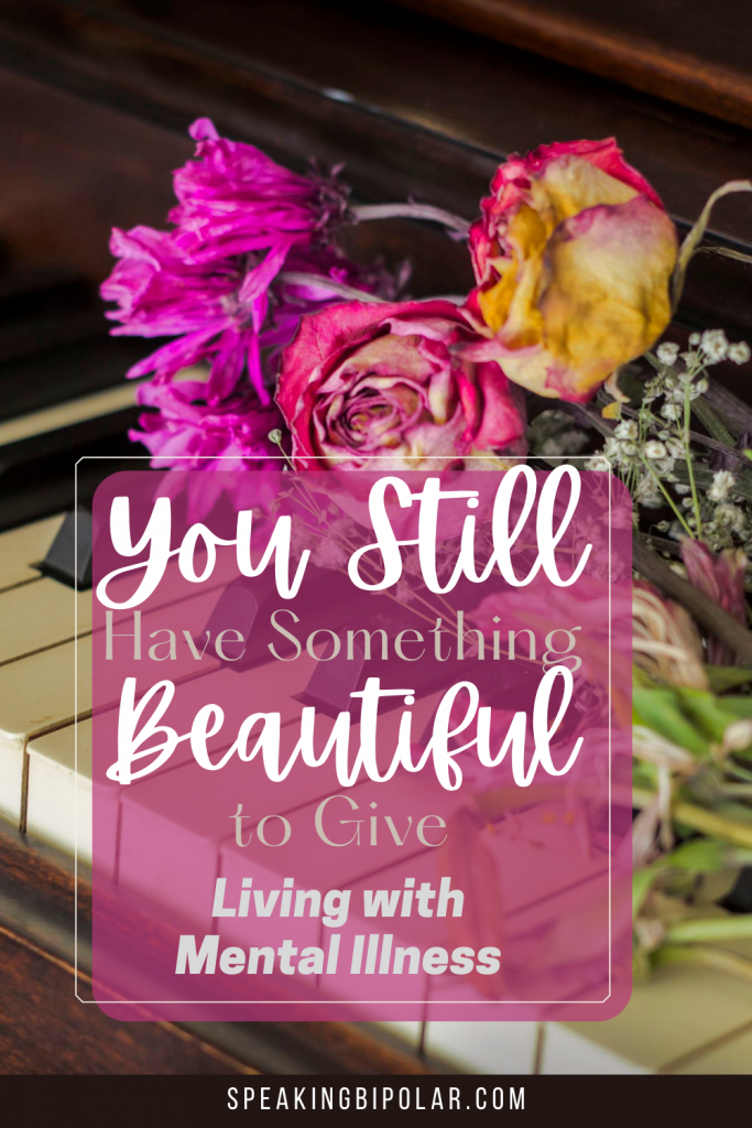 Dried flowers on a piano. Your broken parts don't define you even if living with mental illness makes it feel that way. Learn a lesson from a beautiful song about Marilyn Monroe. | #bipolar #feelbroken #mentalillness #chronicillness